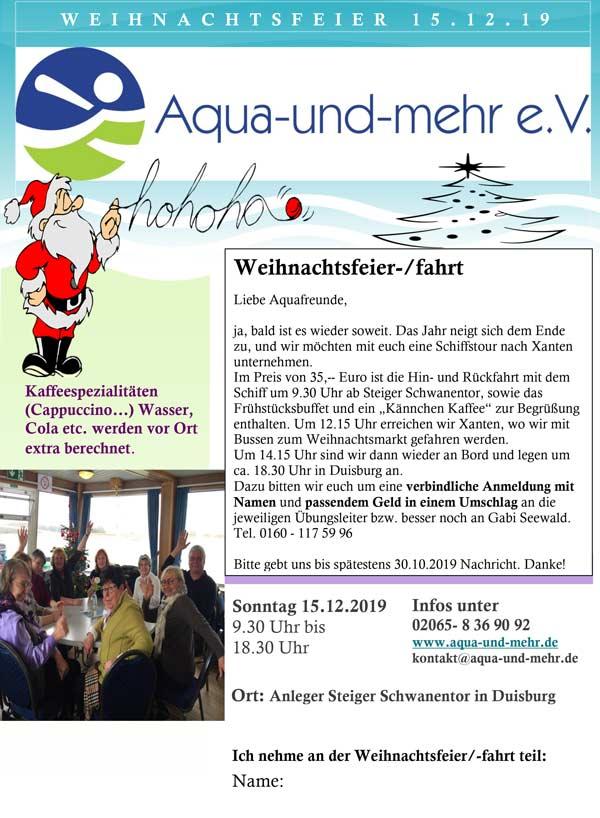 Aqua und mehr e.V. - Flyer Weihnachtsfeier 2018